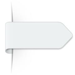 Langer weißer Sticker Pfeil mit Schatten und Textfreiraum