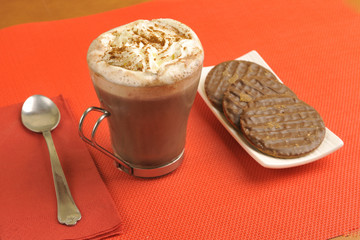 Viennese coffee with cinnamon and chocolate cookies