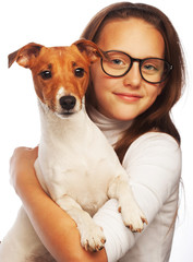 girl with Jack Russell Terrier