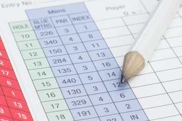Pencil on a golf scorecard