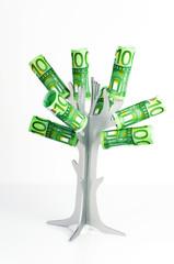 Baum mit 100-Euroscheinen