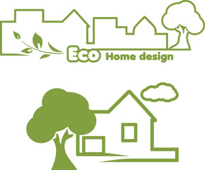 Eco home design. Icons for design