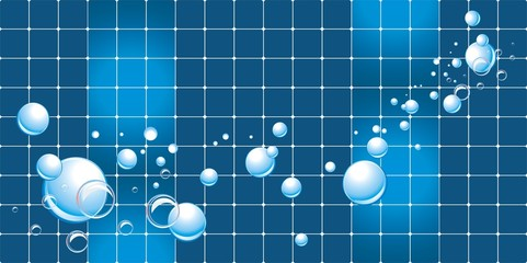 Water bubbles on the mosaic background