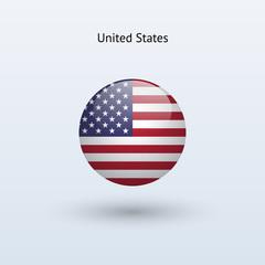 United States round flag. Vector illustration.