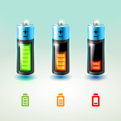 Set of vector batteries. Charge conditions.