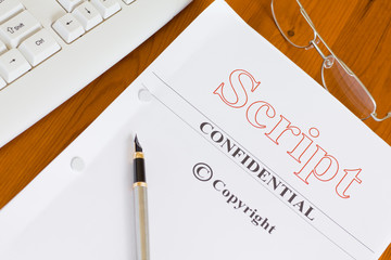 Script Manuscript on Desk with Pen