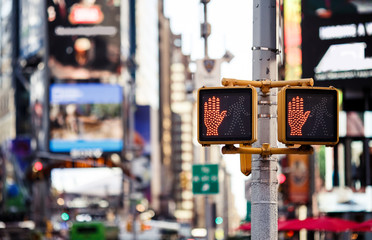 Don't walk New York traffic sign