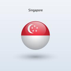 Singapore round flag. Vector illustration.