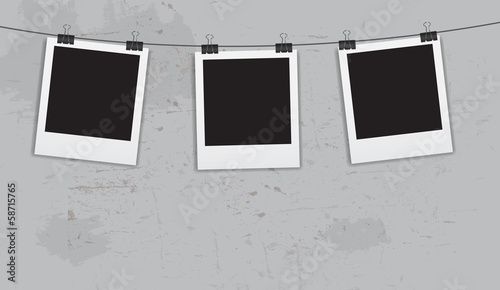 Instant photos with clips in grunge background vector illustrati