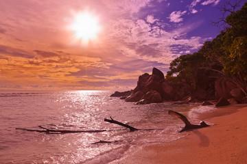 Seychelles tropical beach at sunset