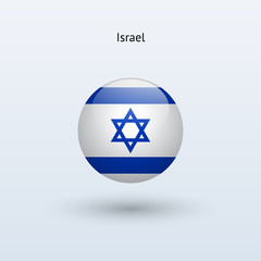 Israel round flag. Vector illustration.