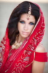 beautiful indian woman bride in red dress