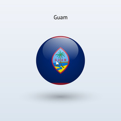 Guam round flag. Vector illustration.