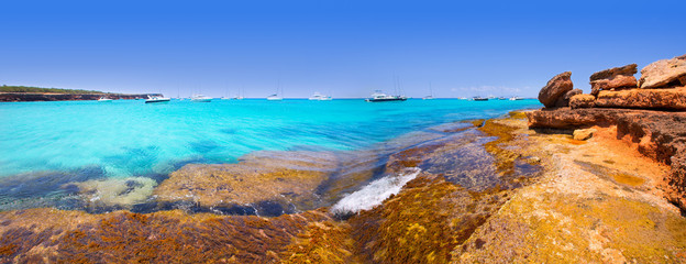 Formentera panoramic Cala Saona beach Balearic Islands