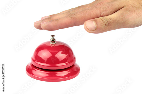 Hand ringing in red service bell