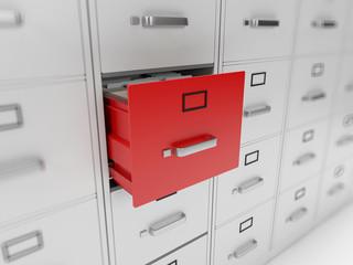 3d rendered illustration of a filing cabinet