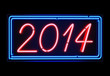 Neon light 2014 sign blue and red