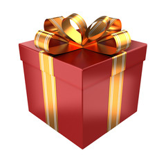 Red gift with golden ribbons