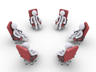 Businessmen sitting on chairs form a circle