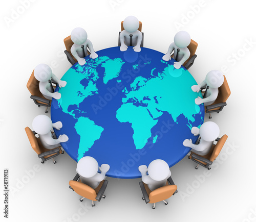 Businessmen sitting on chairs and table with world map