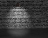lighting ceiling lamps with brick wall and concrete ground