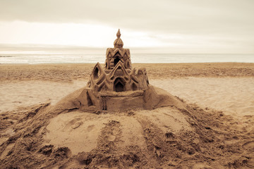 Sand castle on the beach Barcelona. Spain