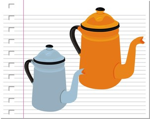 illustration teapot with on paper