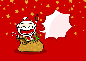 Christmas card with Santa in a sack