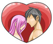 A naked couple is facing in the pink heart frame (vector)