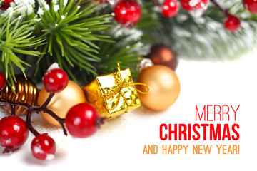 Christmas and New Year decoration on white background.