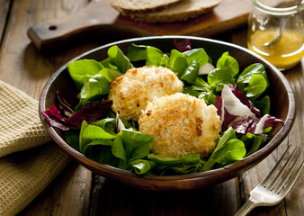 salad with baked goat cheese.