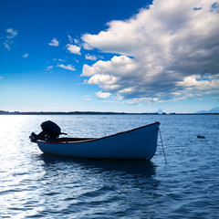 Boat in Estany des Peix at Formentera Balearic Islands