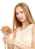 A beautiful young woman with a flower, isolated on white