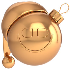 Christmas ball smiling avatar Happy New Year gold bauble
