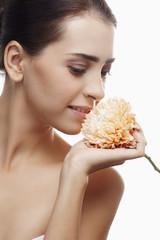 Woman with chrysanthemum b