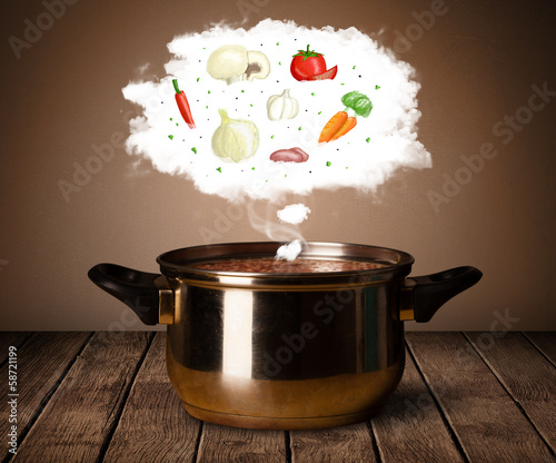 Vegetables in vapor cloud