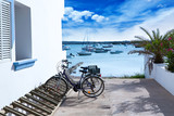 Estany des Peix in formentera with bicycles parking lot
