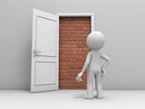 Door with bricks