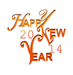 Happy New Year 2014 stylish vector design