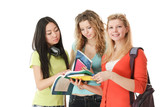 Group of college girls looking their books.