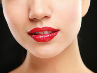 Woman red lips closeup