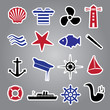 nautical icon stickers collection eps10