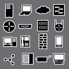 network icon stickers collection eps10