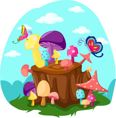 mushrooms and butterflies with tree stump