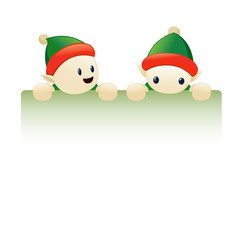 Chrismas elves holding blank sign