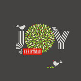 Christmas background with birds and the joy of Christmas slogan
