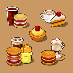 Set of colorful cartoon fast food.