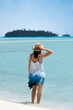 Young woman visit  Aitutaki Lagoon Cook Islands