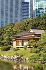 Old and modern architecture at Hamarikyu Gardens , Tokyo