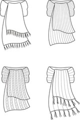Vector illustration of winter scarfs. Knitwear